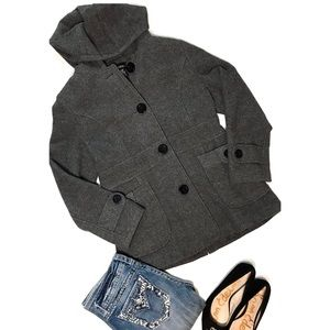 Maurices Wool Gray Button Up Pea Coat / Large